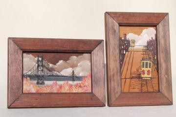 hippie vintage San Francisco original art, brutalist modern paintings miniatures