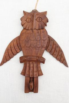hippie vintage carved wood owl wall hanging hook board, Indian sheesham wood carving