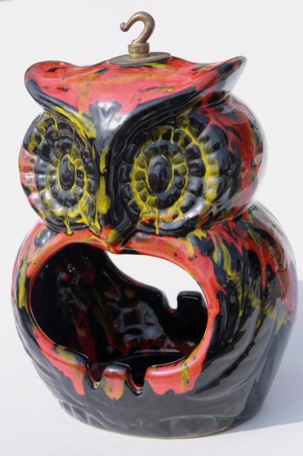Hippie Vintage Ceramic Owl Hanging Planter For House Plant