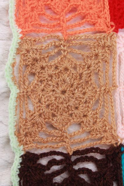hippie vintage crochet afghan, patchwork blocks cobweb crocheted granny square blanket
