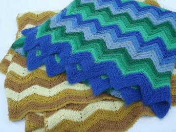 Hippie vintage crochet afghans, chevron stripes in blue / green, golds