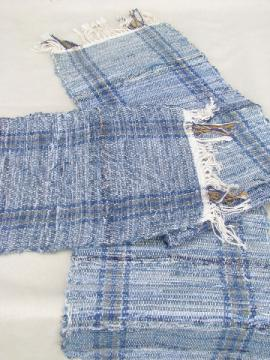 Hippie vintage handwoven place mats & table runner, blue jeans denim