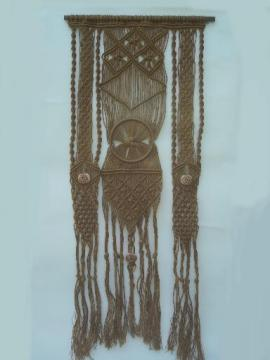 Hippie vintage macrame, retro 70s natural rope fringed wall art hanging