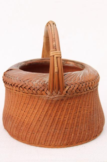 hipster zen vintage planter, woven bamboo basket w/ old terracotta clay plant pot
