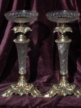 Hollywood regency lucite plastic & gold candlesticks, pillar candle sticks