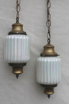 Hollywood regency vintage double light swag lamp pendant fixture w/ opalescent glass shades
