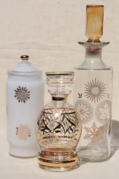 hollywood regency vintage gold decorated glass decanter bottles & apothecary jar