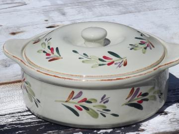 Home China painted stoneware over proof pottery casserole dish w/ lid