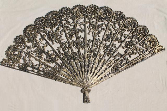 huge Spanish fan in black & gold plastic, vintage Burwood ...