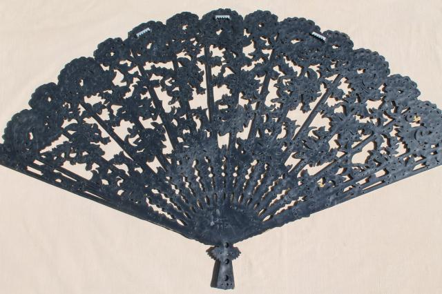huge Spanish fan in black & gold plastic, vintage Burwood wall art plaque