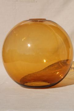 huge amber glass globe, hand blown art glass hurricane shade, 60s mod vintage