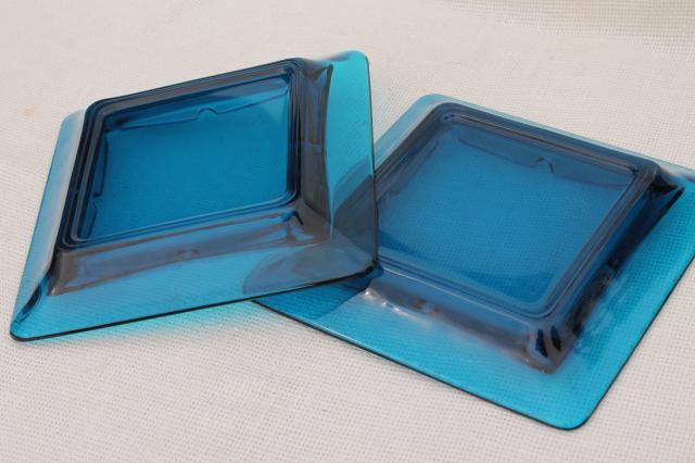 huge art glass ashtrays, mid-century mod vintage Viking glass aqua blue bluenique