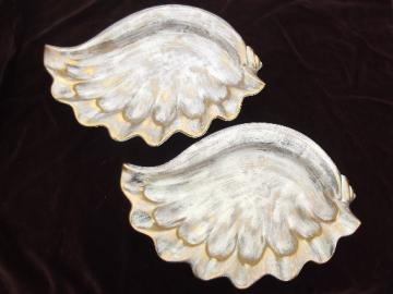 Huge ashtrays or bowls, 60s mad men vintage   gold brushed ceramic seashells