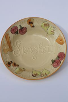 Huge ceramic Spaghetti bowl, mid-century mod vintage Los Angeles pottery
