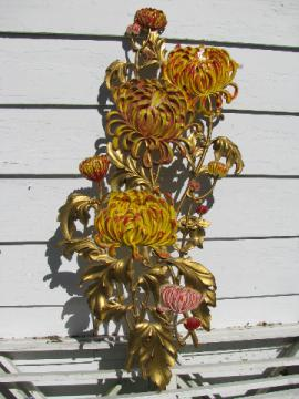 Huge chrysanthemums door or wall plaque, vintage plastic Burwood or Syroco?