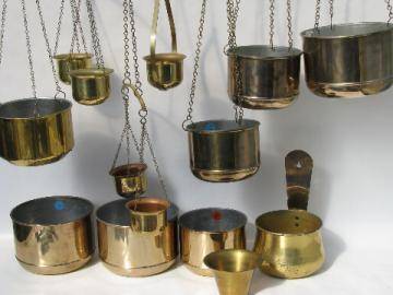 Huge collection new old stock Scandinavian modern brass hanging planters