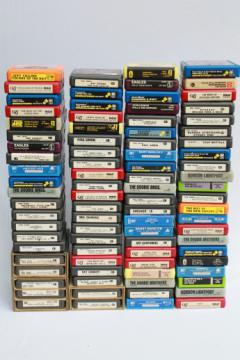 Huge collection of 8 track tapes, 70s vintage music recordings mixed genres