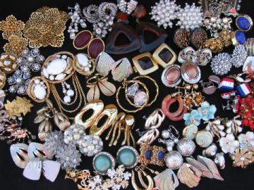 Huge costume jewelry lot vintage clip-on & screw back earrings, 68 pair