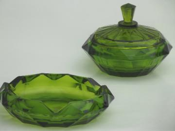 Huge green glass ashtray & round box,  vintage Viking label art glass
