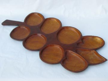 Huge hand-carved mahogany leaf tray / divided plate, vintage Haiti