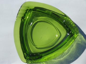 Huge heavy glass ashtray, retro 60s 70s vintage ash tray in emerald green