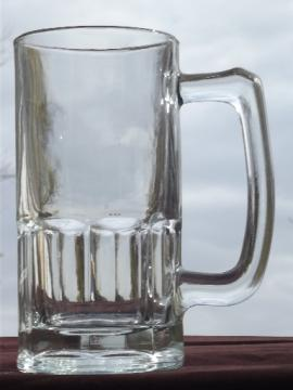 Huge heavy glass mug, giant size big beer stein as large as a pitcher!
