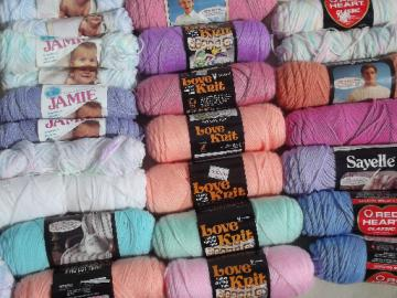 Huge lot acrylic baby yarn, Love Knit, Jamie, Red Heart knitting / crochet yarn