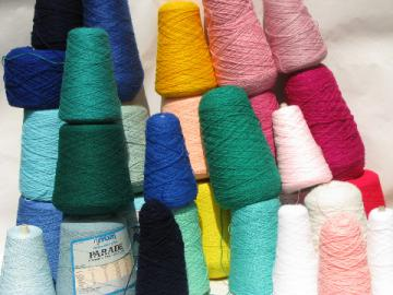 Huge lot knitting machine / weaving cone yarn, cones in all colors!