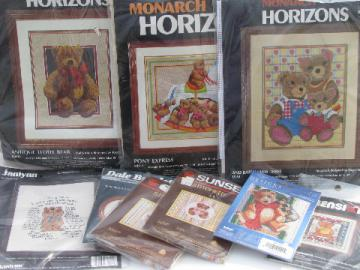 Huge lot needlework kits, teddy bears in needlepoint, cross-stitch