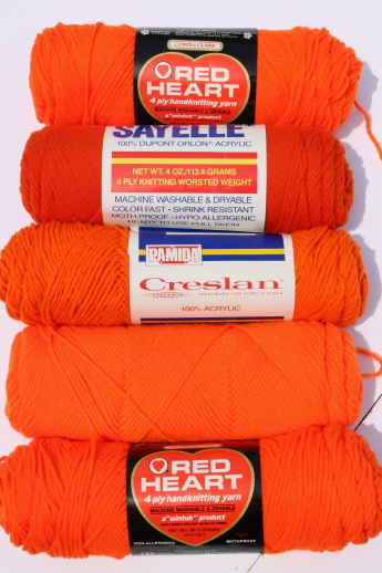 Huge lot of acrylic yarn, many coral & orange colors, nice for afghans etc.