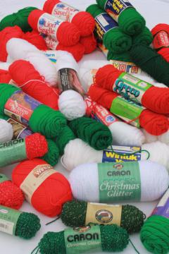 huge lot of vintage acrylic yarn, Christmas colors red & green, white, metallic thread