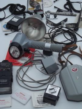 Huge lot of vintage camera flashes and camera flash accessories for parts