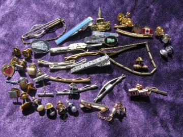 Huge lot of vintage tie clips, tie tacks, tie pins