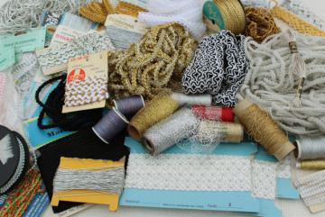huge lot vintage metallic braid, cord thread, gold silver trims - sewing craft supplies destash