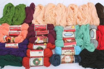 huge lot vintage rug yarn, Aunt Lydia's polyester rug & craft yarn 30+ skeins all colors