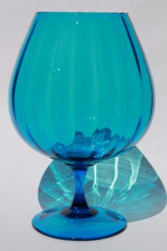 huge mod fish bowl vase, retro aqua blue Italian art glass vintage Empoli Italy