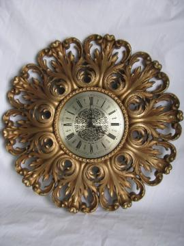 Huge ornate gold rococo plastic wall clock, vintage Syroco