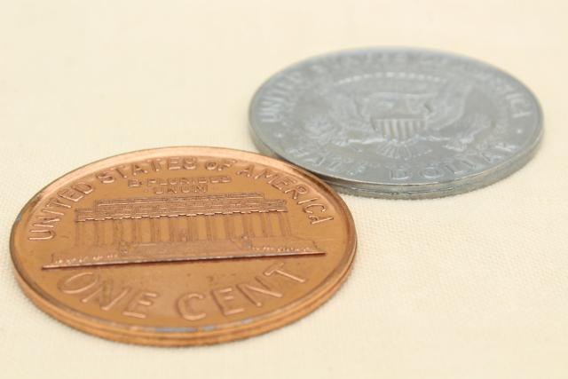 huge oversized play fun money, vintage cast metal coins 1964 half dollar & 1972 penny