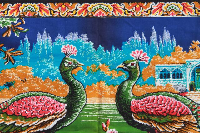 huge printed cotton fabric wall hanging, bohemian retro peacock birds print tapestry