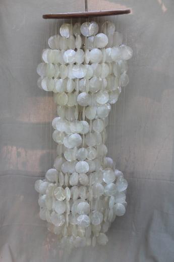 Huge retro 70s vintage capiz shell hanging light ceiling to floor huge retro 70s vintage capiz shell hanging light ceiling to floor chandelier w shower of shells aloadofball Choice Image