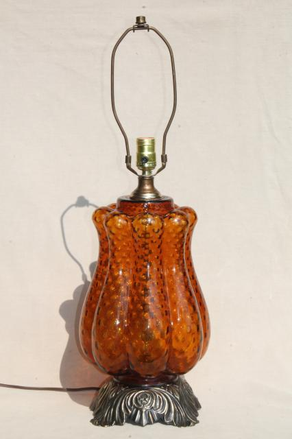Huge Retro Italian Art Glass Table Lamp W/ Hand Blown Amber Glass Base, 60s  Vintage
