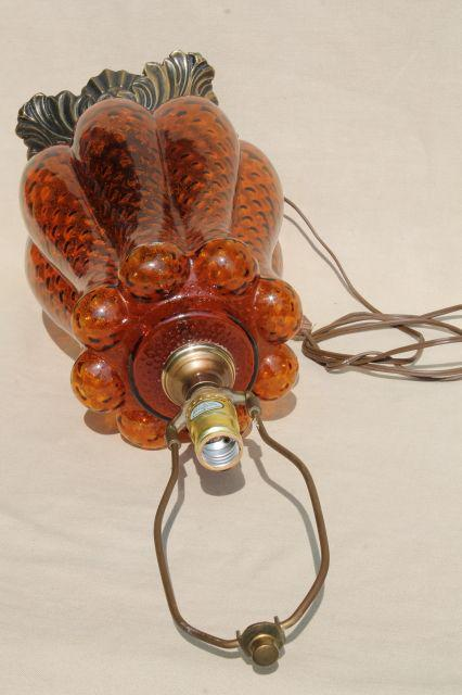 huge retro Italian art glass table lamp w/ hand-blown amber glass base, 60s vintage