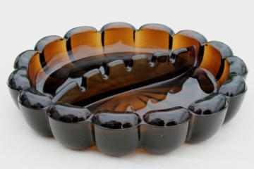 Huge retro ashtray, smoke brown amber glass ashtray 60s 70s vintage