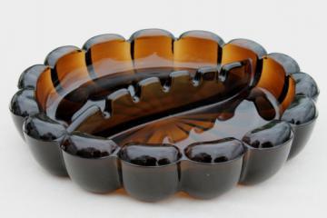 Huge retro ashtray, smoke brown amber glass ashtray 60s 70s vintage