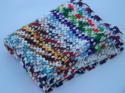 Huge retro crochet afghan,  granny square blanket in all varigated colors