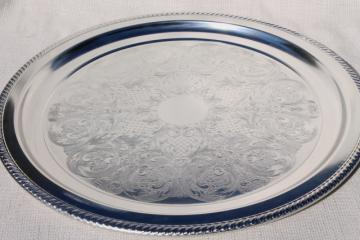 huge round waiter's tray w/ bright shiny silver chrome, art deco - mid century vintage