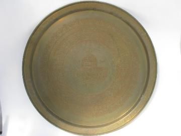 Huge solid brass round tabletop tray, etched mosque design, vintage Egypt