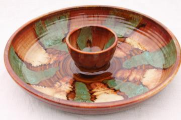 huge spatter drip glaze snack serving chip & dip bowl in rustic colors, vintage Dryden pottery