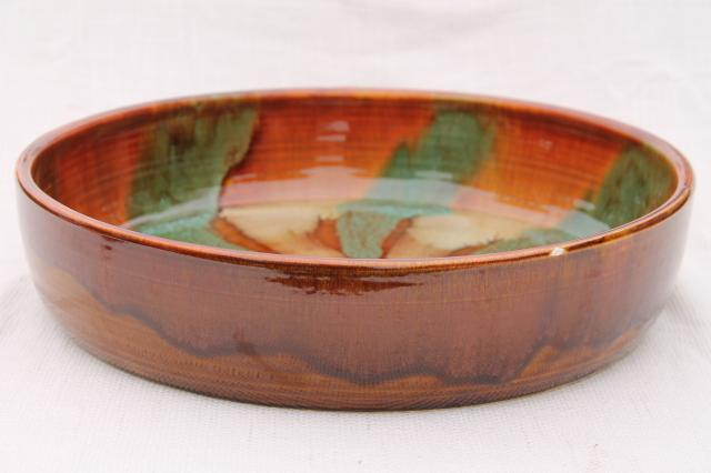 huge spatter drip glaze snack serving / salad bowl in rustic colors, vintage Dryden pottery