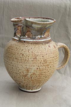 Huge stoneware pitcher handmade studio pottery, rustic rough clay vessel